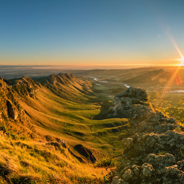 """Sunrise at Te Mata Peak, Napier, Hawkes Bay"" stock image"