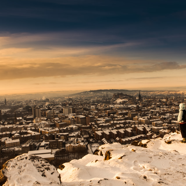 """Snow over Edinburgh"" stock image"