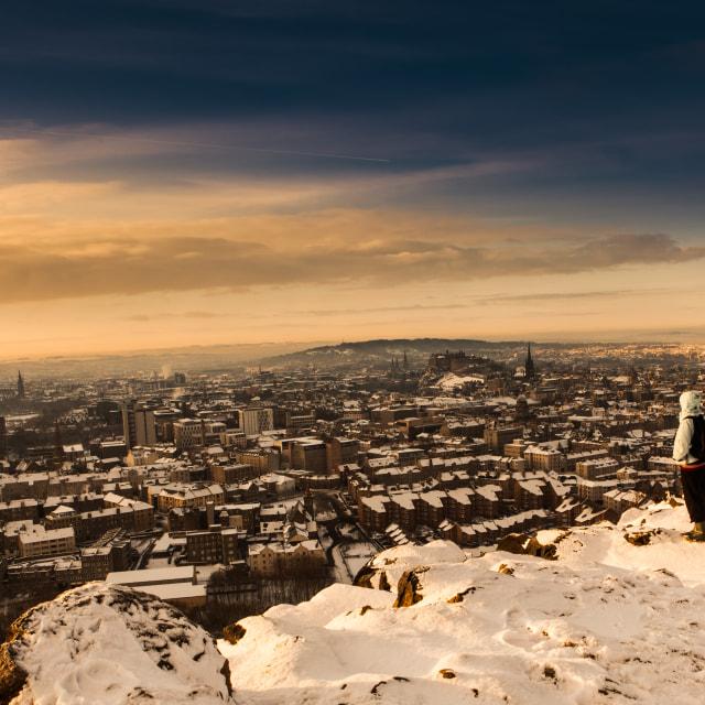 """Snow over Edinburgh"" stock image"