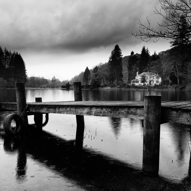"""Rainy day on Loch Ard"" stock image"