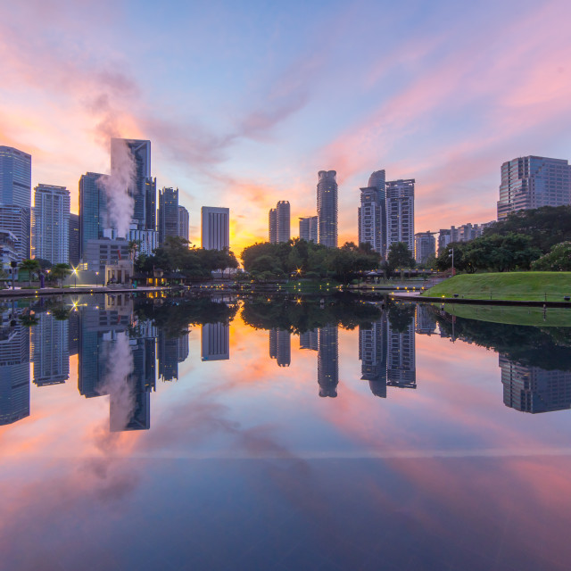 """""""Reflection of the buildings surrounding KLCC lake"""" stock image"""