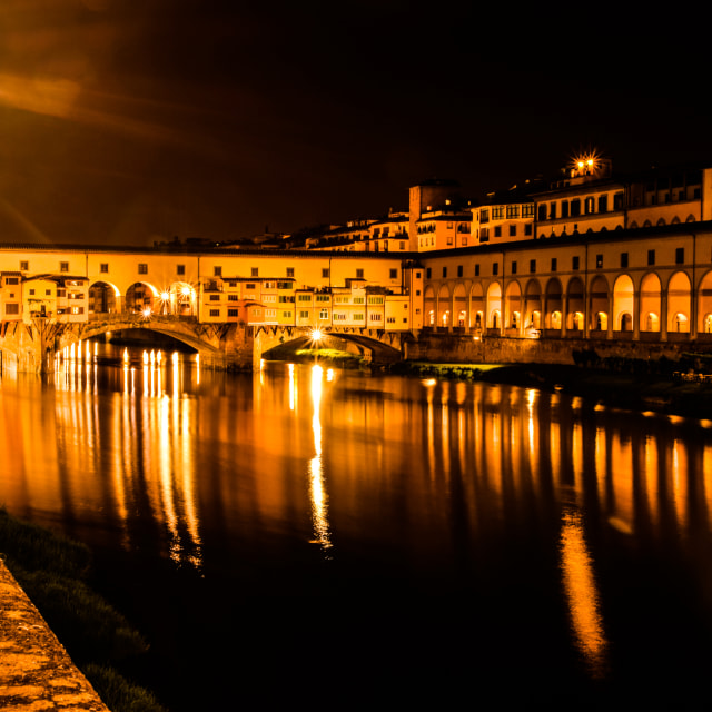 """Ponte Vecchio at night"" stock image"