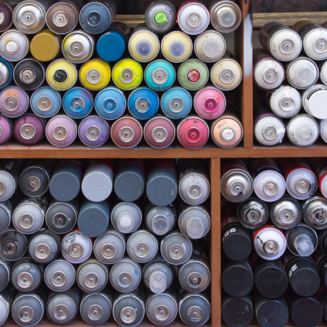 """Spray paint cans, Bogota"" stock image"