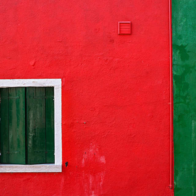 """""""Red and green wall with window in Burano, Venice"""" stock image"""