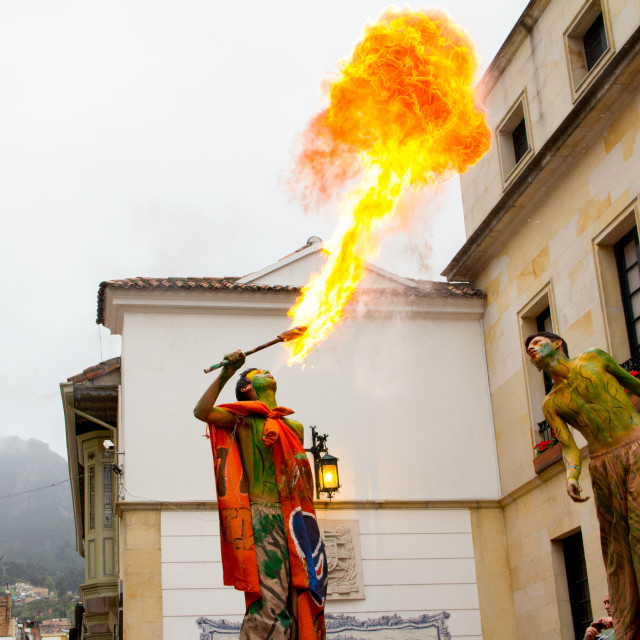 """Fire-Breather on Stilts"" stock image"