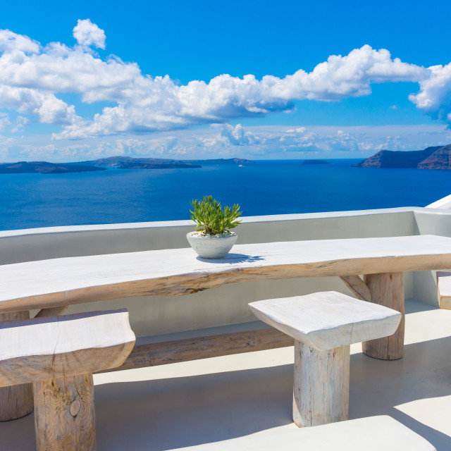 """Landscape Santorini Island, Oia, Cyclades, Greece"" stock image"