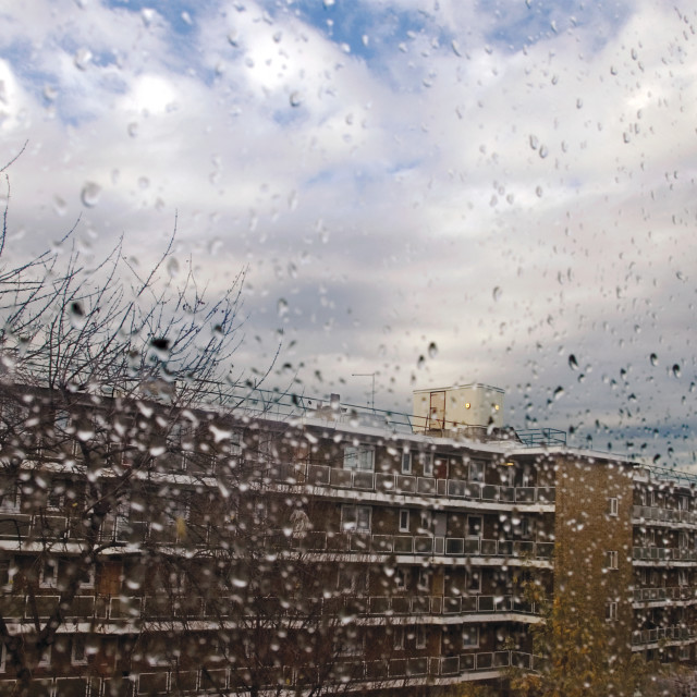 """Rainy day on Council Estate"" stock image"