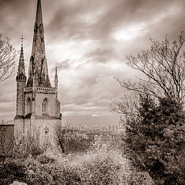 """Church & Rooftops"" stock image"