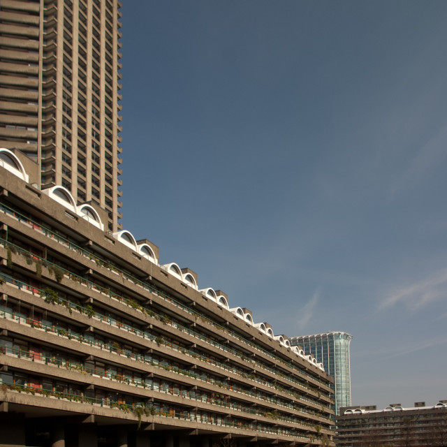 """Barbican Tower Blocks"" stock image"