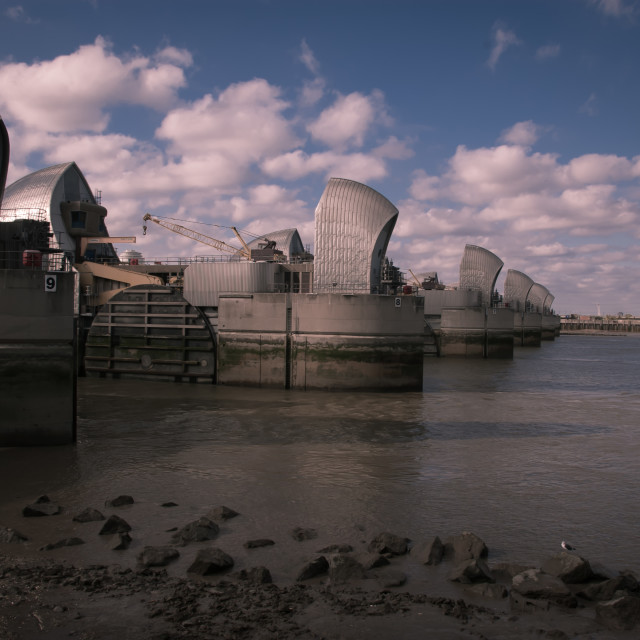 """Thames Barrier at Low-tide"" stock image"