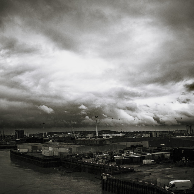 """Moody skies in London (better than grey?!)"" stock image"
