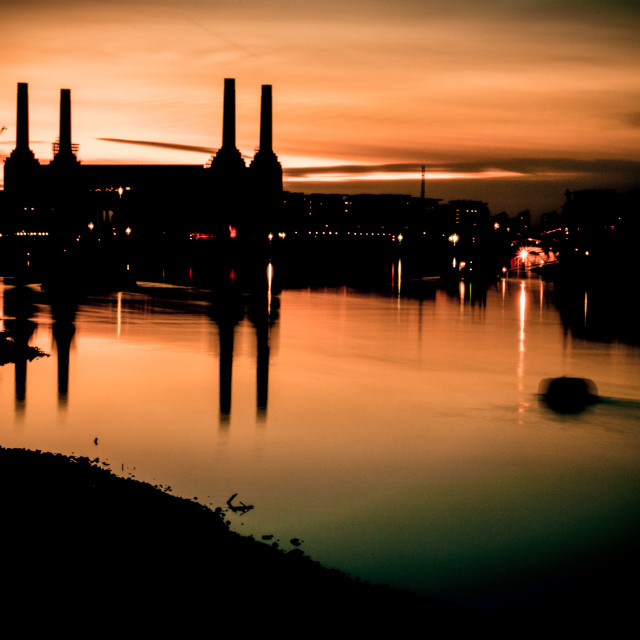"""Battsea Power Station Chimney's at Dusk"" stock image"