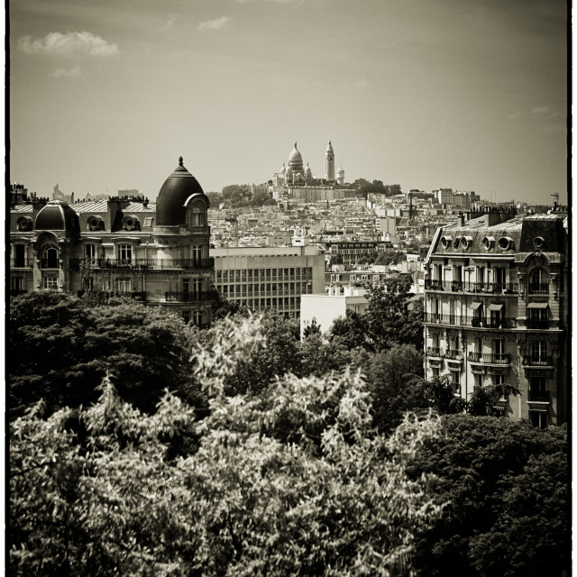 """Sacre Coeur Basilica as seen from Temple de la Sibylle."" stock image"