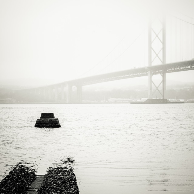 """""""Calpso Marine - the old ferry pier looking towards the Forth Road Bridge in..."""" stock image"""