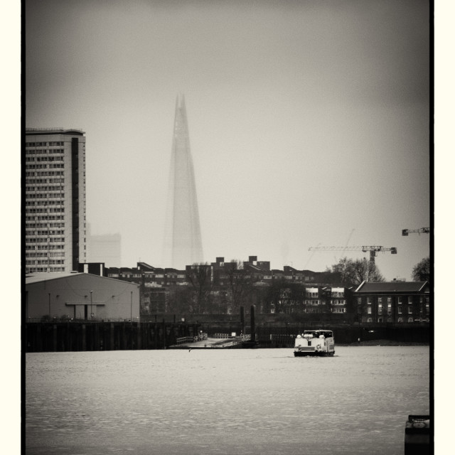 """""""The Shard viewed through wet misty weather"""" stock image"""