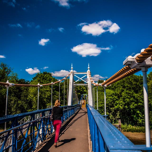 """Teddington Lock Bridge"" stock image"