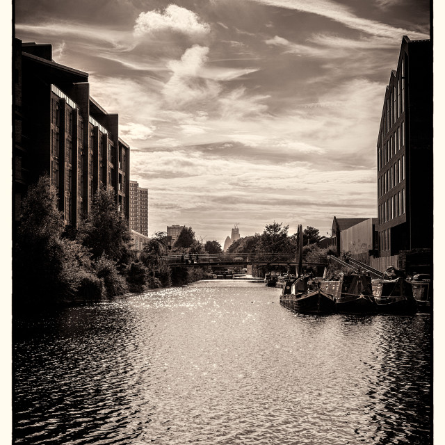 """Barges on Canal in East London"" stock image"