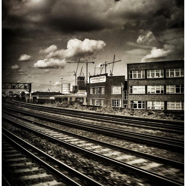 """London Train Tracks"" stock image"