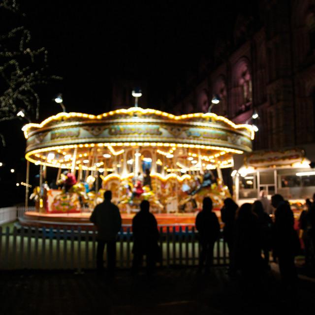 """""""Night time fun on Carousel"""" stock image"""