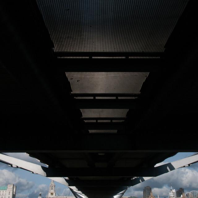 """""""Under the Millennium Bridge"""" stock image"""