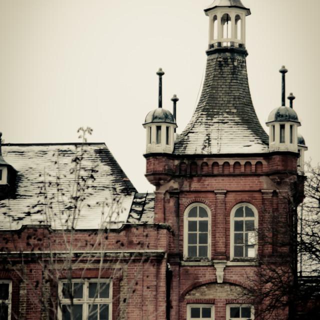 """Myatts Field Park, February snowfall, school building tower"" stock image"