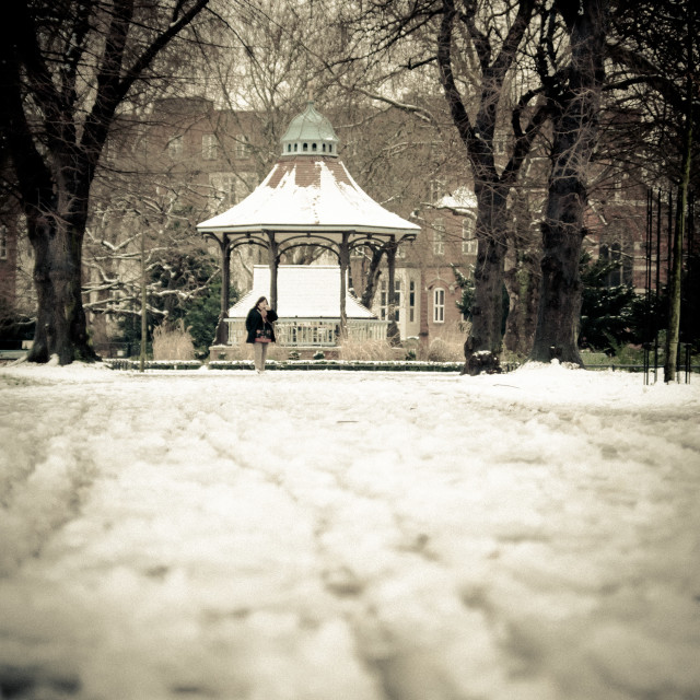 """""""Myatts Field Park, bandstand and path"""" stock image"""