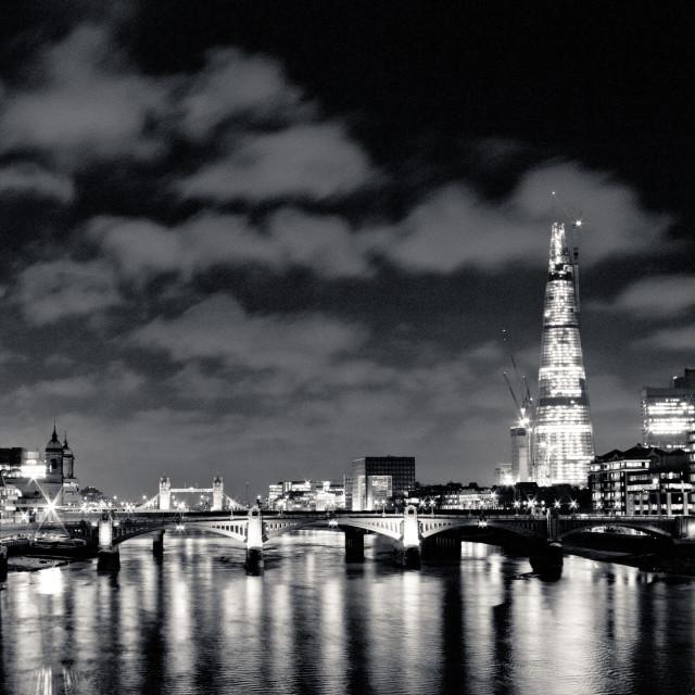 """The Shard and Bridges at Night B&W"" stock image"