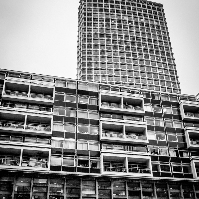 """""""Centre Point and a block of flats."""" stock image"""