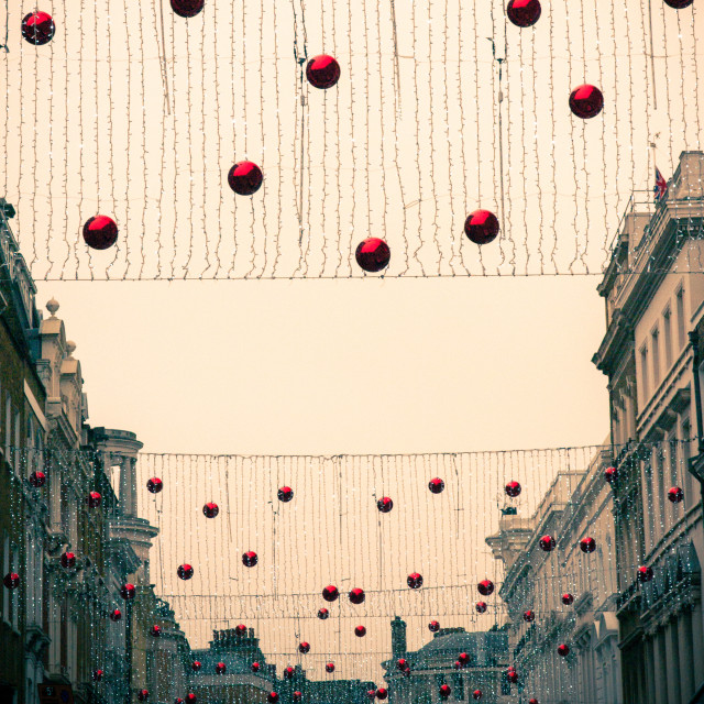 """""""Christmas Baubles over London Street"""" stock image"""