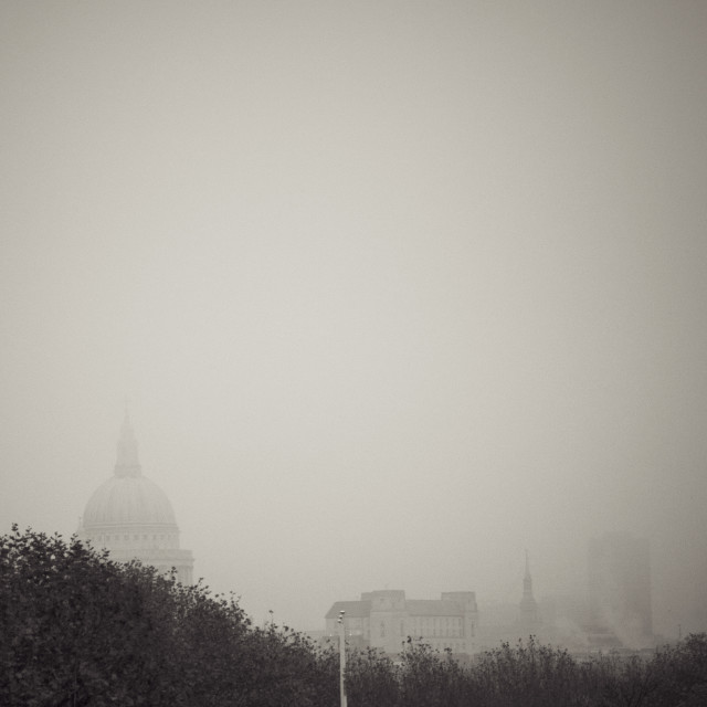 """""""St Paul's in the Mist of a London Gray Day"""" stock image"""