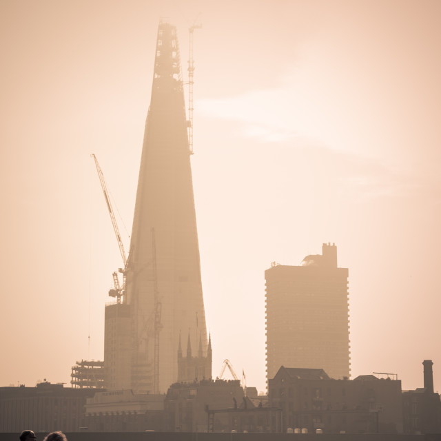 """""""The Shard being Built as seen through Mist"""" stock image"""