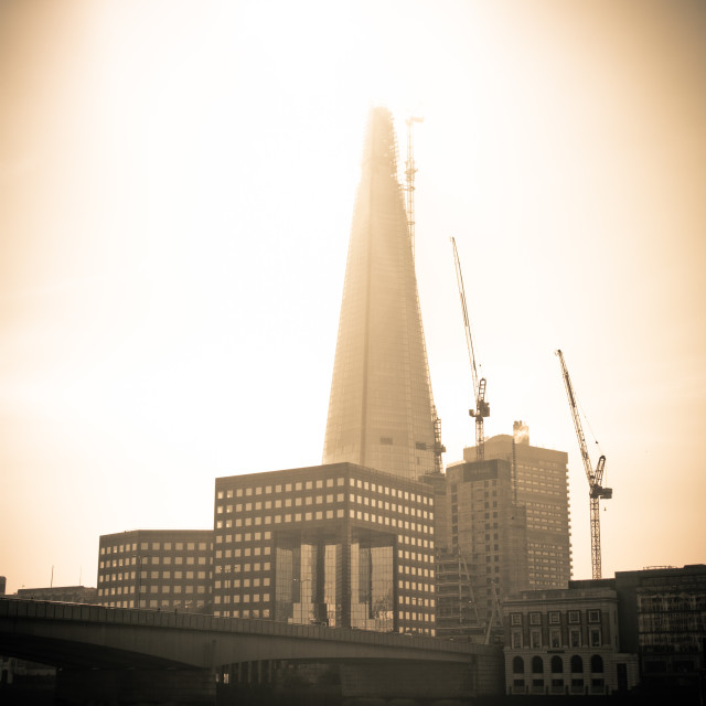 """""""The Shard during construction"""" stock image"""
