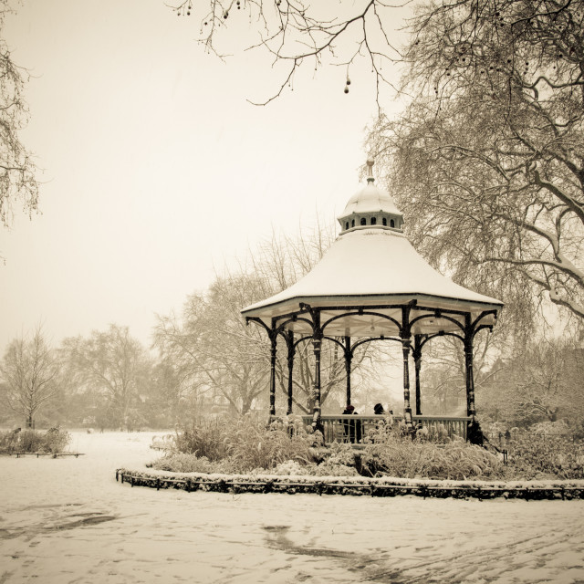 """""""Snow Covered Victorian Band Stand"""" stock image"""