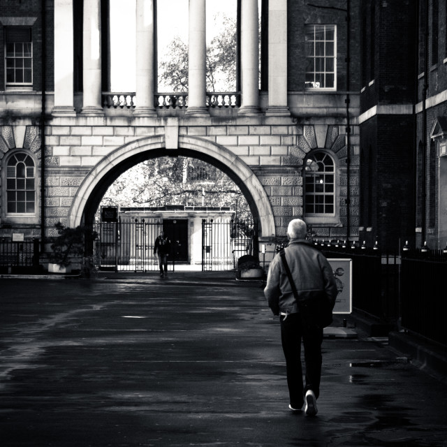 """""""Walking towards King College Arches"""" stock image"""