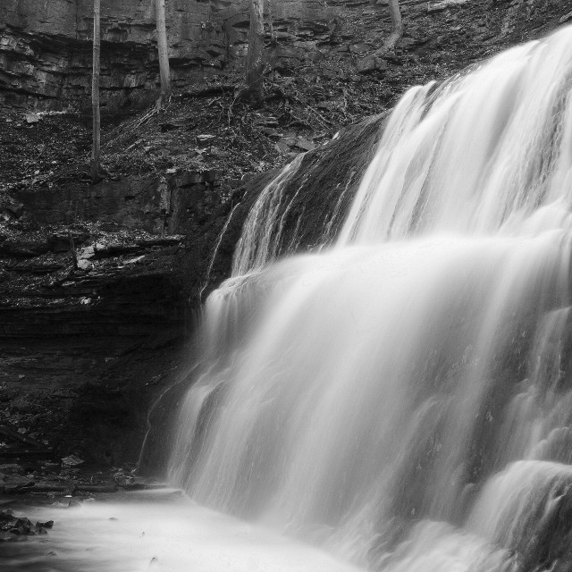 """Waterfalls in Black and White"" stock image"