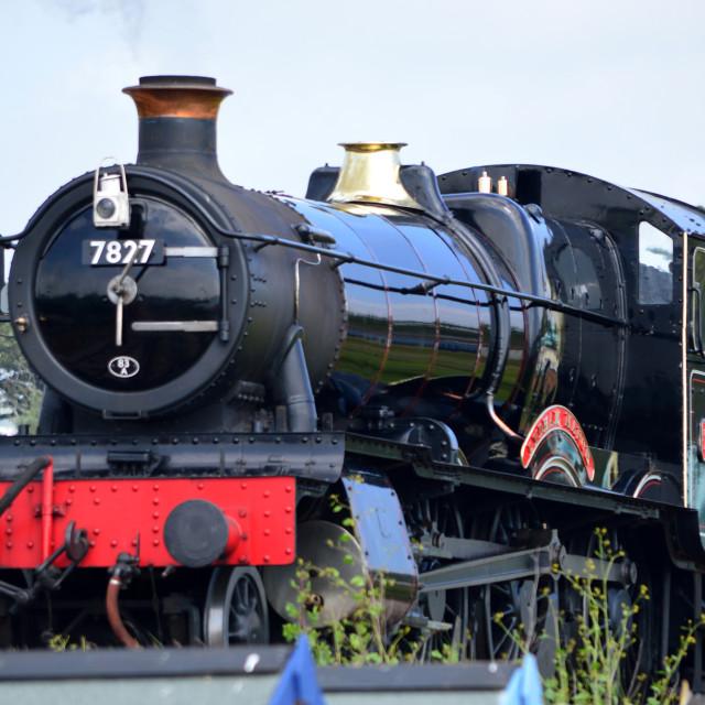 """Lydham Manor Steam Engine No.7827, leaving Goodrington/Paignton Station, Torbay, Devon, England"" stock image"