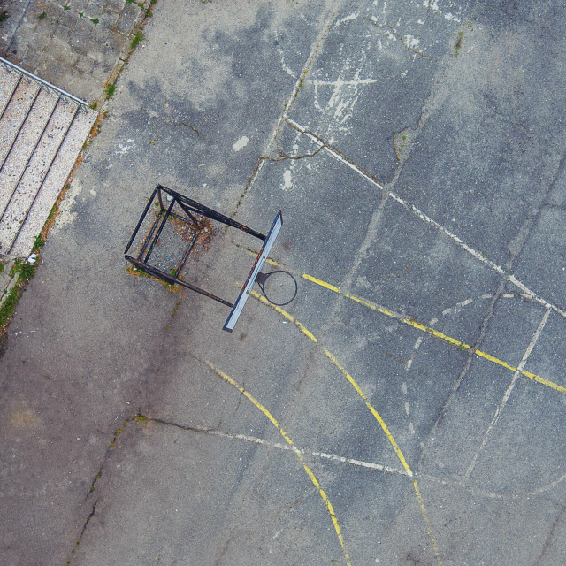 """Aerial shot of school playground"" stock image"