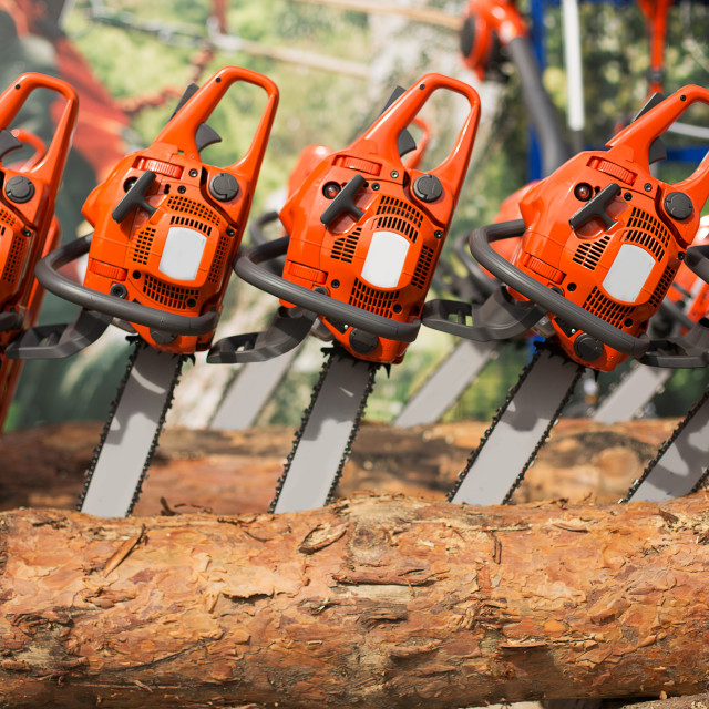 """""""New electric chainsaw machines on firewood"""" stock image"""