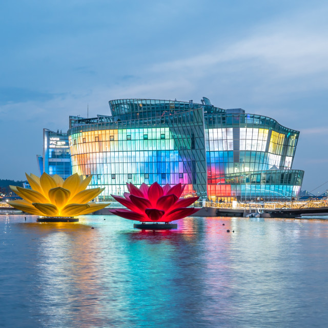 """Seoul, South Korea - May, 2016: Colourful and beautiful Seoul Floating Island at dusk"" stock image"