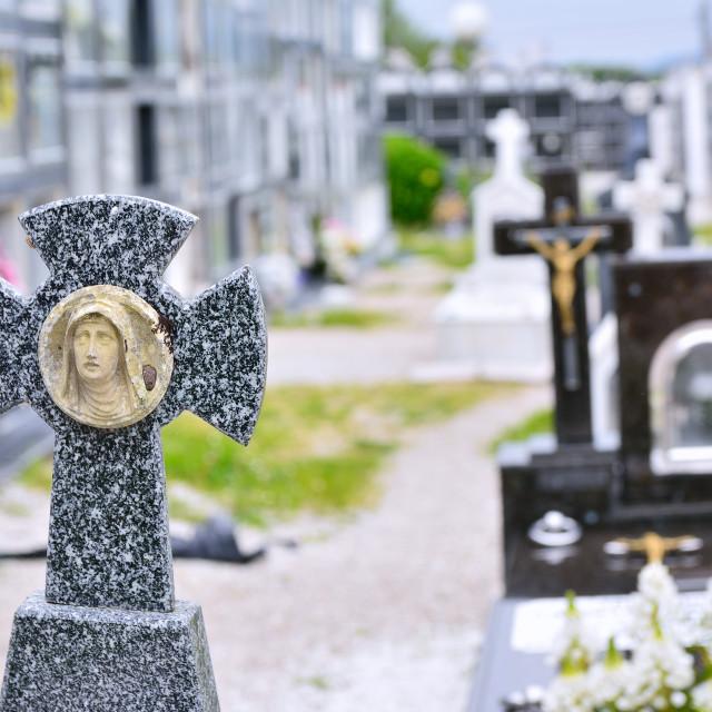"""Cemetry with tombstones"" stock image"