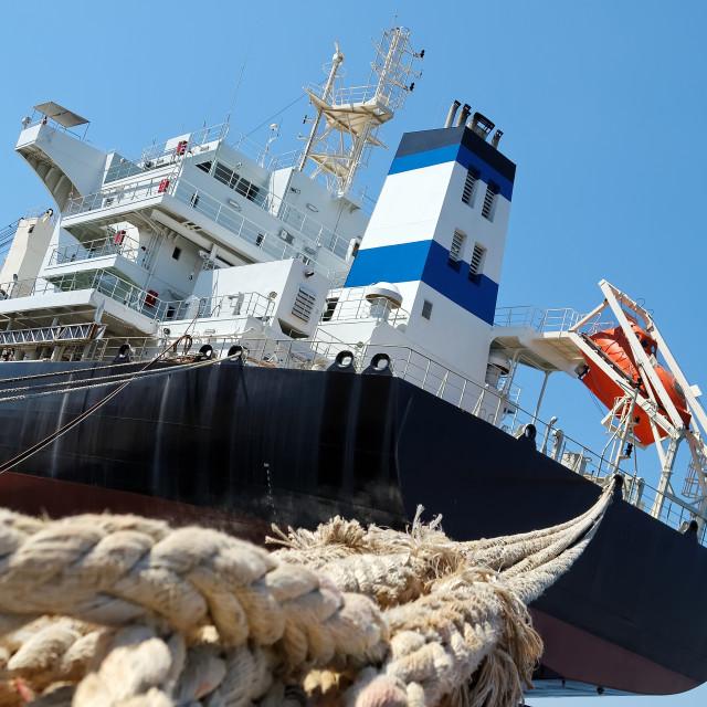 """""""cargo ship docked in port"""" stock image"""