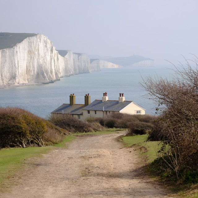 """The Sussex Coast Guard Cottages"" stock image"