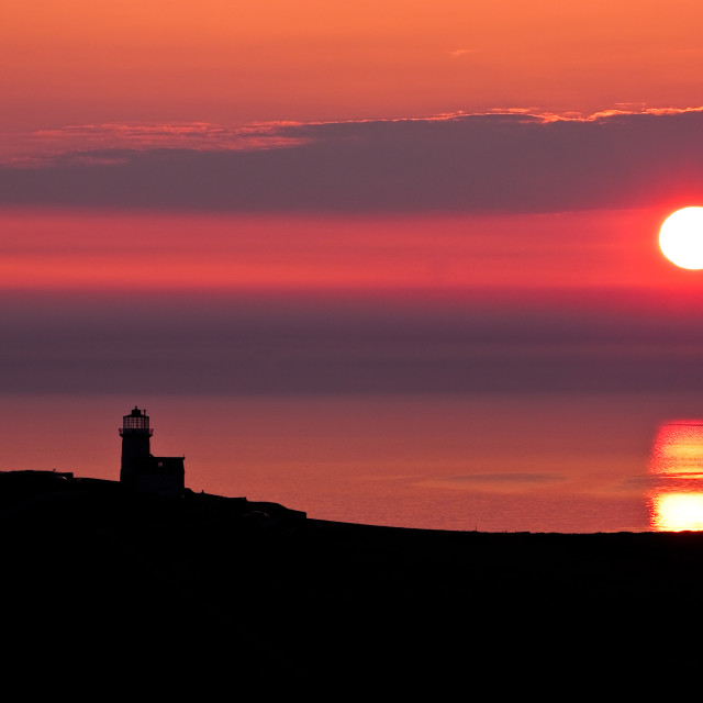 """""""Belle Tout lighthouse silhouette"""" stock image"""