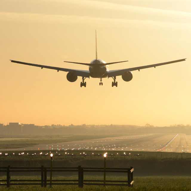 """Sunrise Landing at London Gatwick"" stock image"