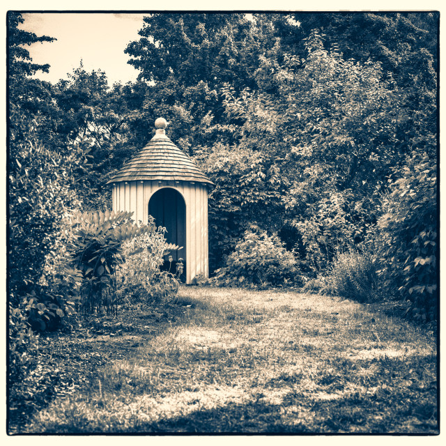 """""""Garden Shed in Bushes"""" stock image"""