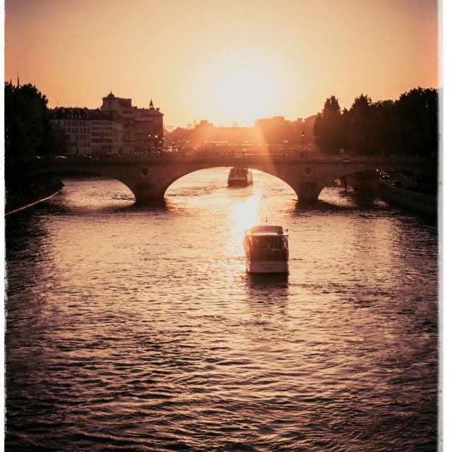 """Paris River at sunset"" stock image"