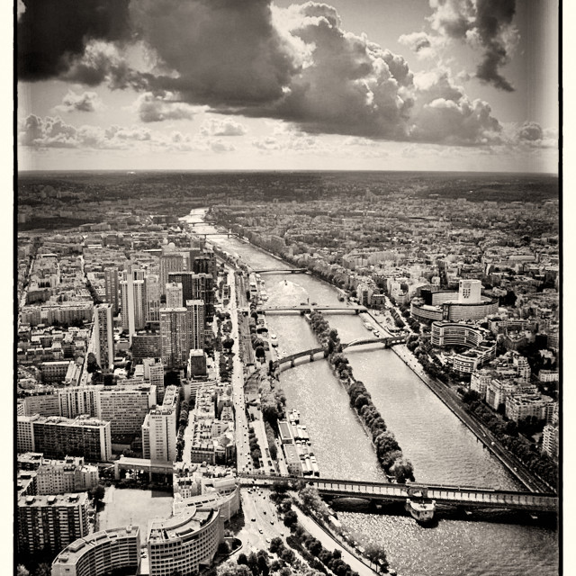 """""""Paris Views from The Eiffel Tower B&W"""" stock image"""