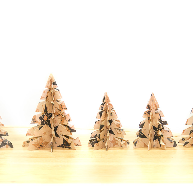 """""""Paper Christmas Tree - line up"""" stock image"""