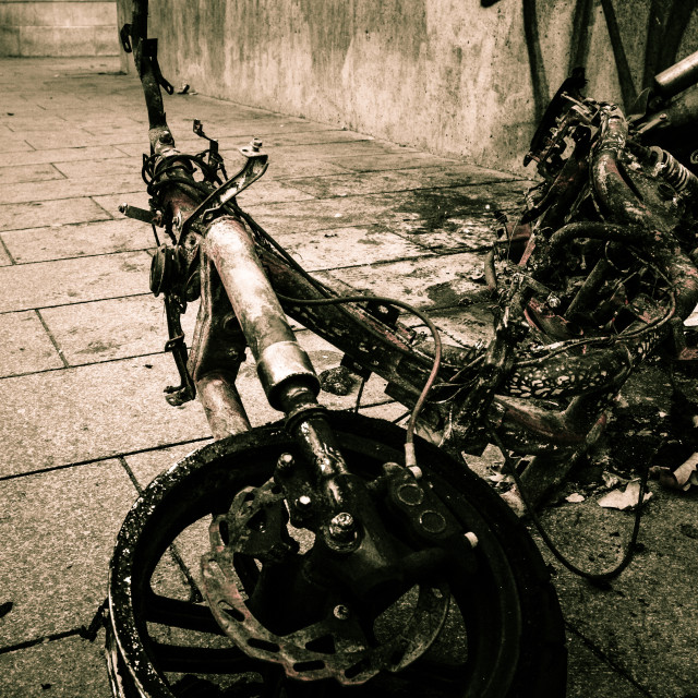 """""""Burnt Out Bike"""" stock image"""