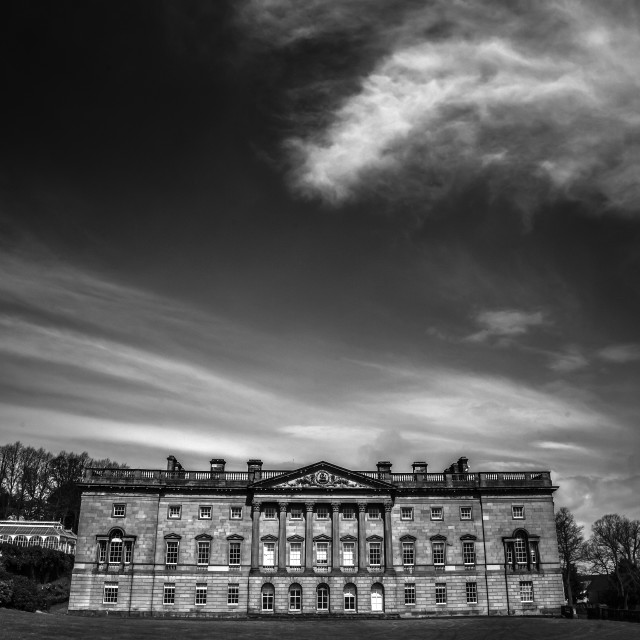 """Manor and cloud mono"" stock image"